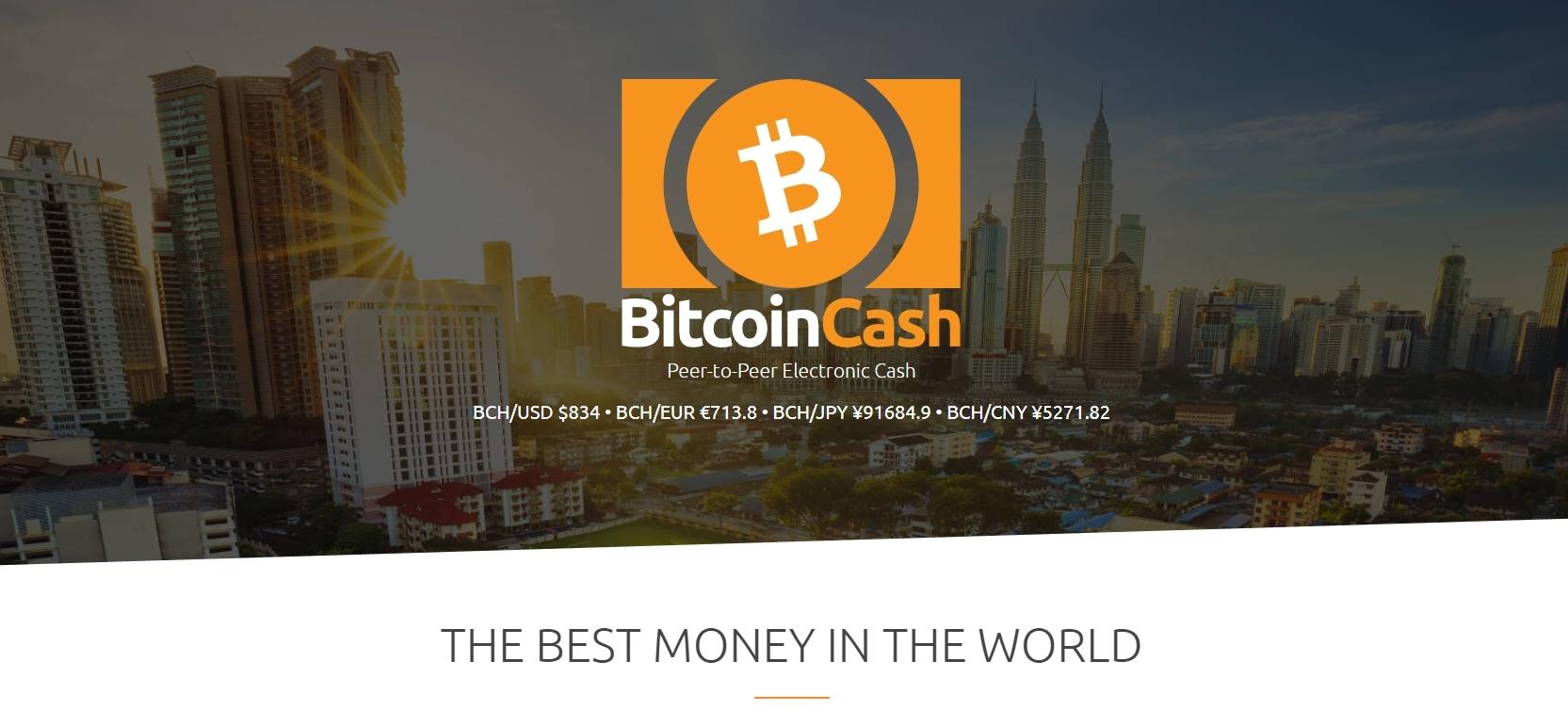 Bitcoincash.org Screenshot