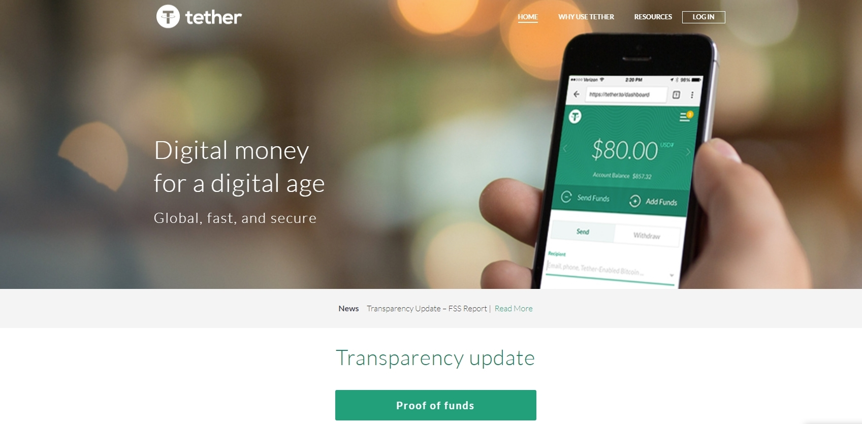 Screenshot: Tether.to